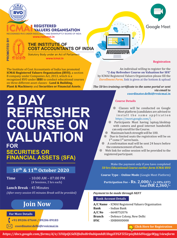 2 Days Refresher course on valuation
